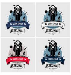 astronaut spaceman logo design artwork space vector image