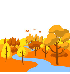 Autumn landscape with forest trees and bushes vector