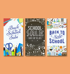 back to school sale banner template set vector image