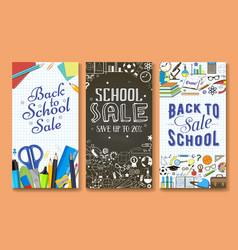 Back to school sale banner template set vector