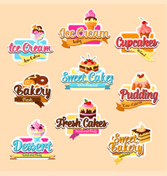 Bakery shop pastry desserts stickers set vector