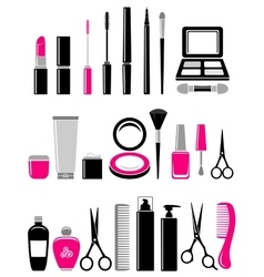 Beauty set of cosmetics icon vector
