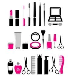 beauty set of cosmetics icon vector image