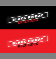 black friday sale banner minimal style glowing vector image