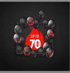 black friday sale banner with balloons up to 70 vector image