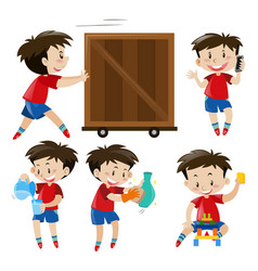 Boy in red shirt doing different things vector