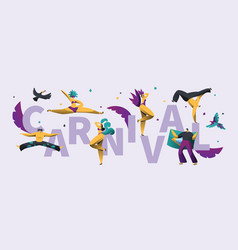 brazilian carnival horizontal typography poster vector image