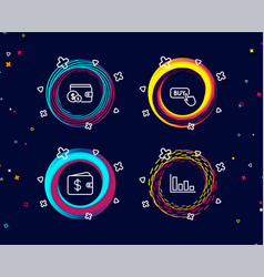 buying accessory buy button and dollar wallet vector image