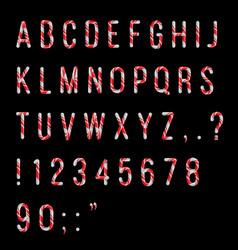 Candy cane alfabet letter complete bundle set vector