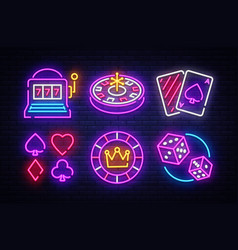 casino neon collection icons vector image