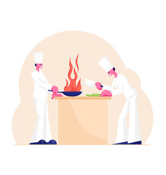 chef and sous-chef characters in white uniform and vector image