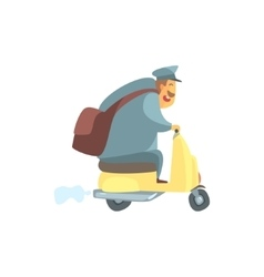 Chubby Postman On Small Scooter vector