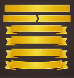 collection set gold ribbons banners vector image