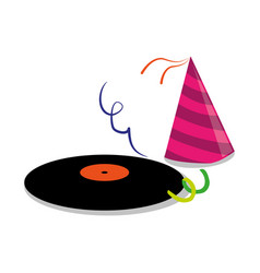 Color silhouette with vinyl lp and party hat vector