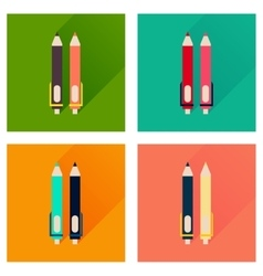 Concept flat icons with long shadow pen and pencil vector