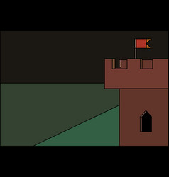 corner castle tower with banner at night stained vector image