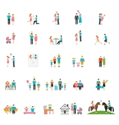 Couple and family flat figures vector