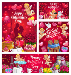 Cupids with valentines day gifts hearts flowers vector
