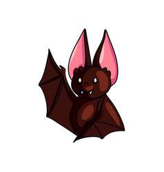 cute brown bat say hello with wing up shiny eyes vector image