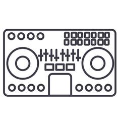 dj mixermixing musicpartytechno line vector image