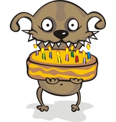 Dog with a pie without any background vector