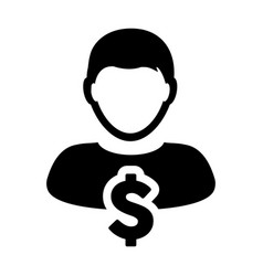 dollar sign icon currency symbol male avatar vector image