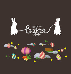 easter eggs and bunny banner vector image