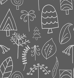 Fantastic trees and foliage seamless pattern vector