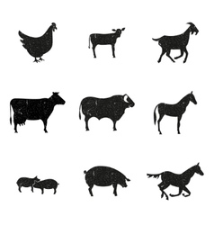 Farm animals silhouette vector