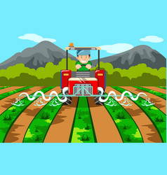 Farmer watering the farm with tractor vector