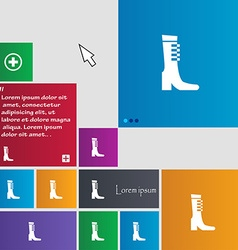 Female fall and winter shoe boot icon sign buttons vector