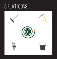 Flat icon dacha set of harrow pail pump and vector