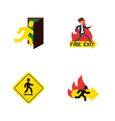 flat icon door set of fire exit direction pointer vector image