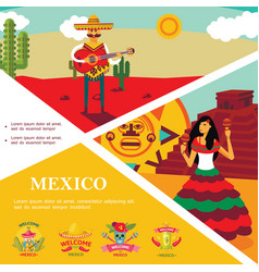 flat mexico colorful template vector image