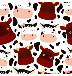 funny cute cows with flowers bows and calves vector image