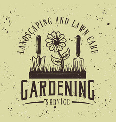 gardening service colored emblem or badge vector image