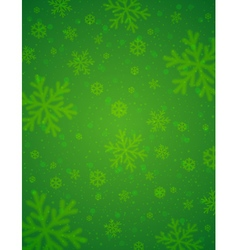 Green background with blurred snowflakes vector