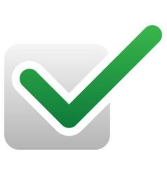 Green check mark over square tick symbol icon vector