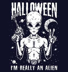 Halloween night vintage monochrome poster vector