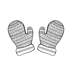 hand drawn christmas mittens vector image