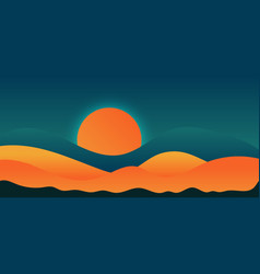 Hand drawn landscape sunset elements or mountains vector