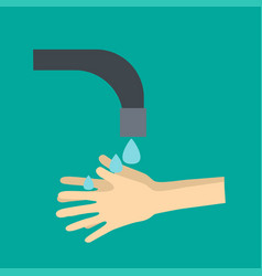 hands under falling water out of tap man washes vector image