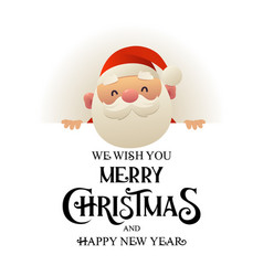 happy cute santa claus stands behind signboard vector image