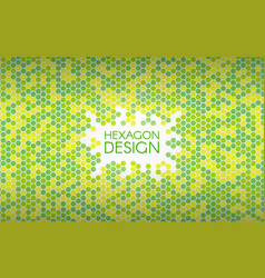 hexagon green background colorful mosaic shapes vector image