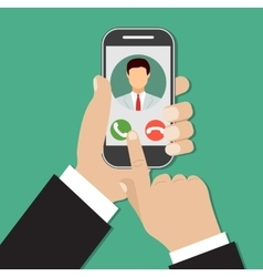 Incoming call on smartphone screen vector image vector image