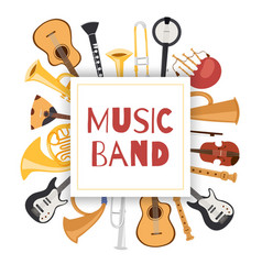 jazz music band banner with musical instruments vector image