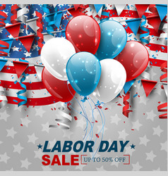 labor day sale design with usa national flag vector image