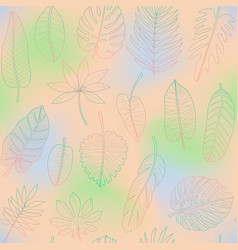 leaves tropical plants colorful outline vector image