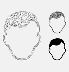 Man face template mesh network model and vector