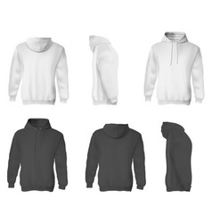 man hoodie black and white blank male sweatshirts vector image
